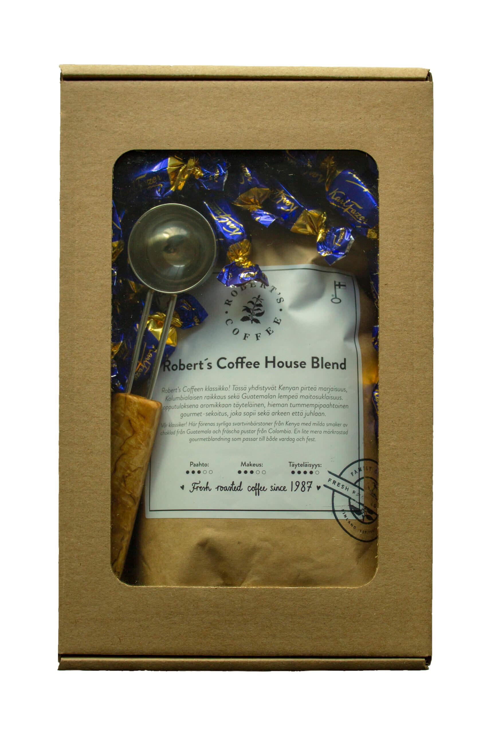Valmiit lahjapakkaukset - Robert´s Coffee kahvi, Fazerin käärekarkit ja Visakoivu kahvimitta.